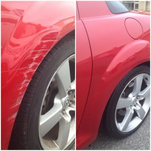 Typical wheel arch repair before and after.